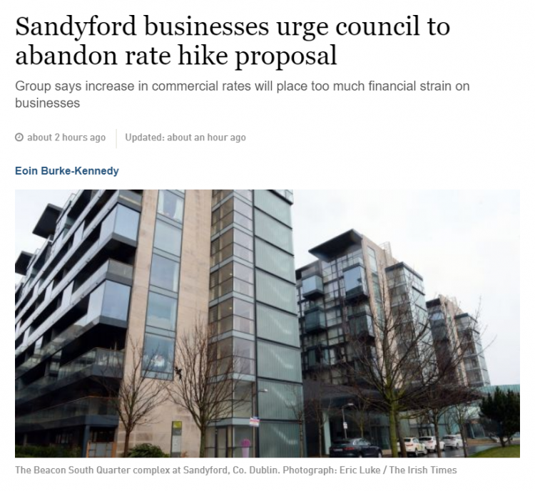 Chief Executive of Sandyford Business District outlines his reasons for opposing the proposed 4% commercial rates increase